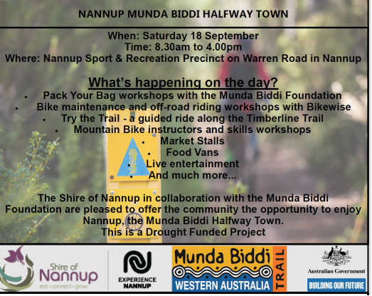Munda Biddi Halfway Town Event is on the 18th of September 2021 in Nannup.
